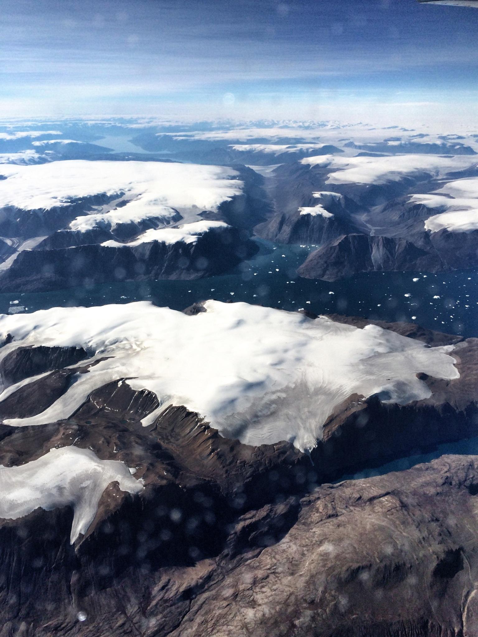 Groenland vanuit het vliegtuig